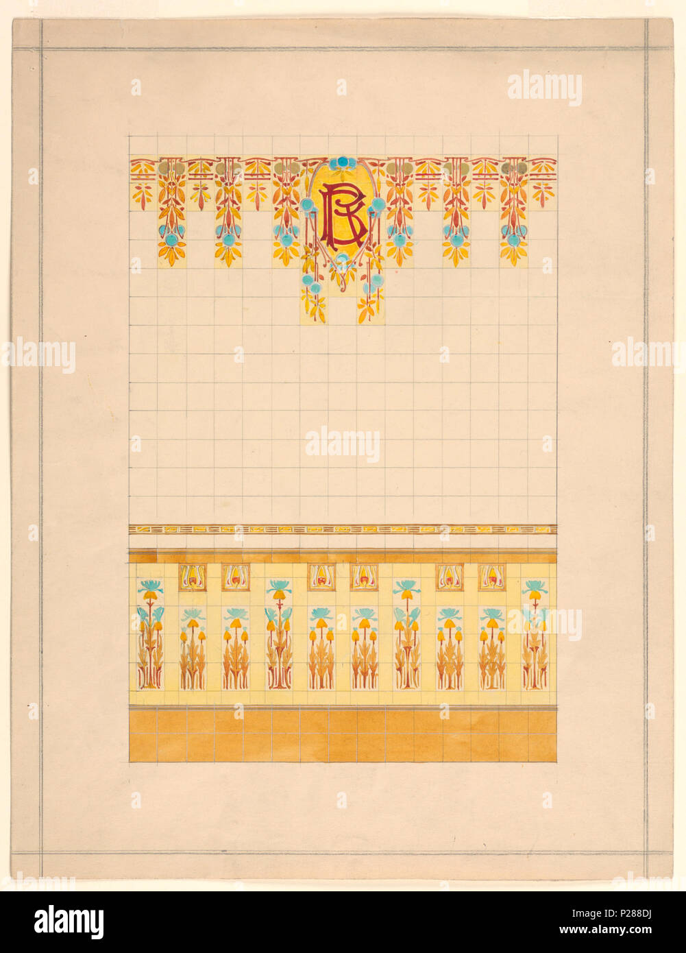 English: Drawing, Design of Wall Decorated with Tiles, 1911 ...