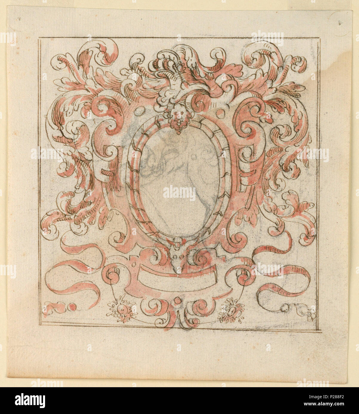 English: Drawing, Drawing for an escutcheon . English: Scrollwork ...