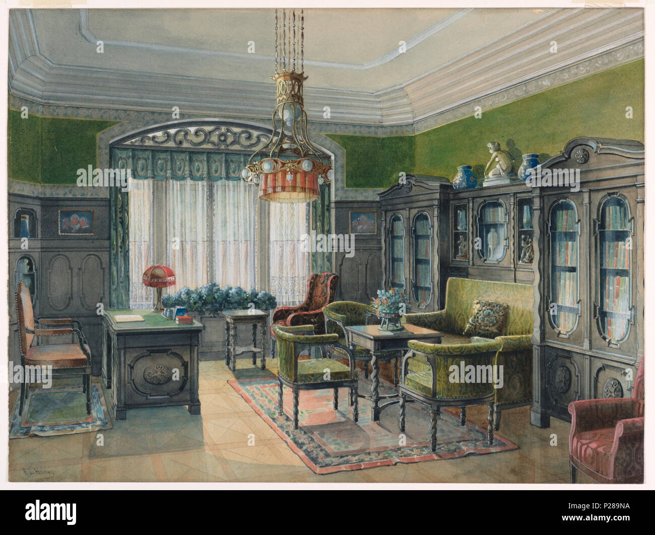 English Drawing Library Or Office Interior Ca 1915 English A