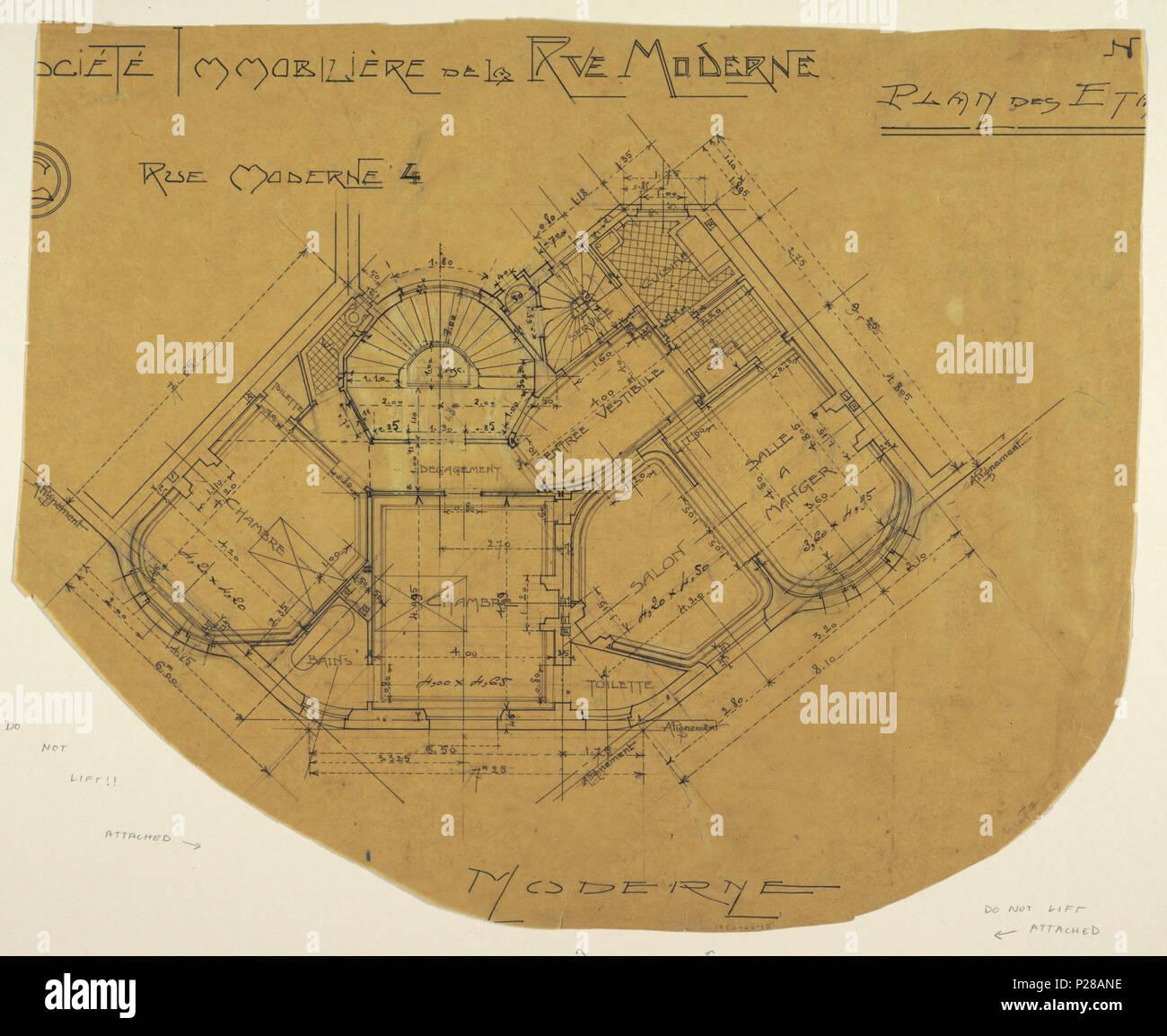 Scale Moderne Design.English Drawing Societe Immobliere De La Rue Moderne Plan