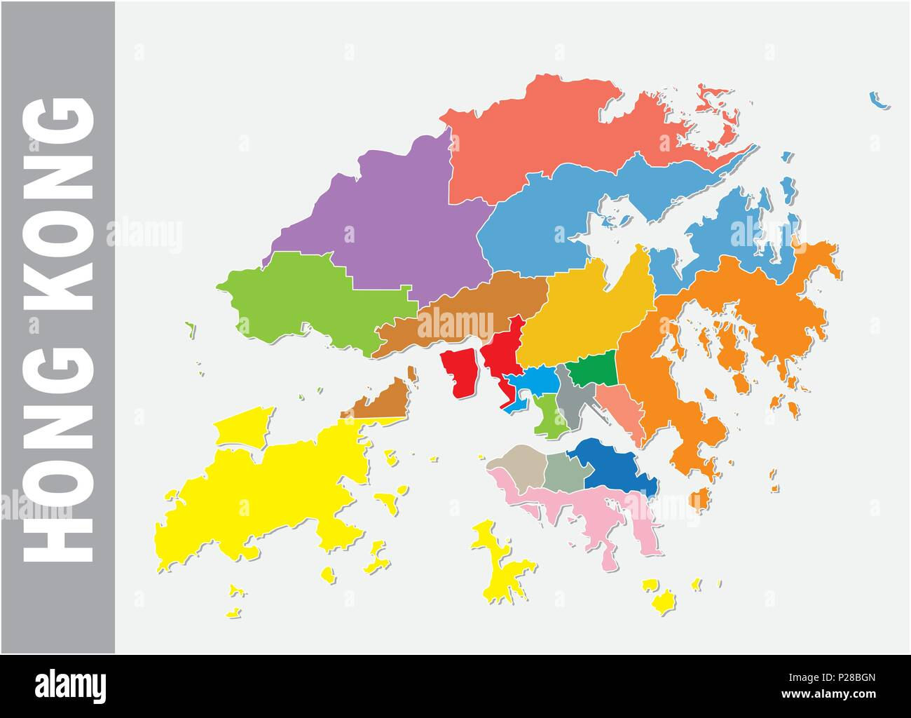 Colorful Hong Kong administrative and political vector map Stock ...