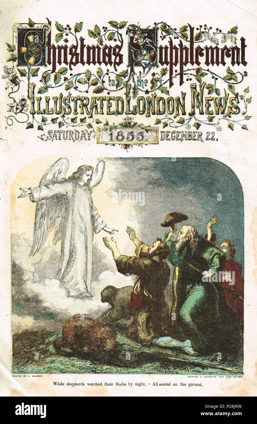 Illustrated London News, colour, Christmas supplement, 1855, 22 December, Annunciation to the shepherds - Stock Image