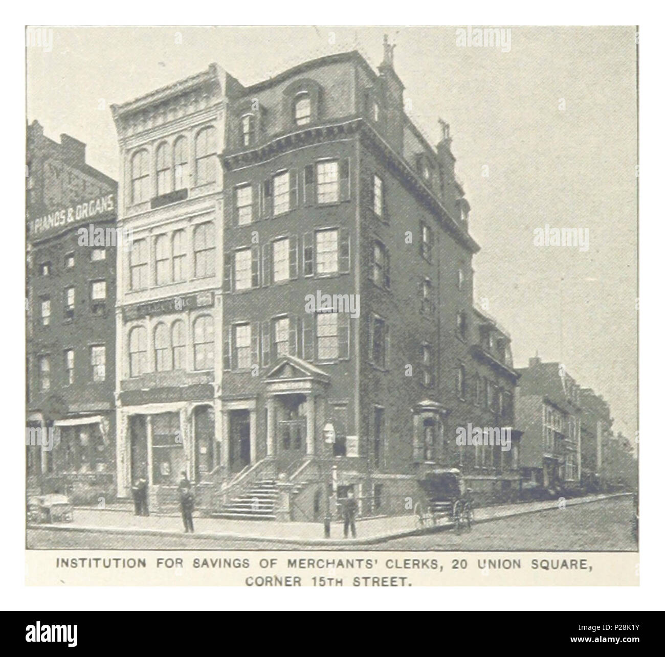 (King1893NYC) pg784 INSTITUTION FOR SAVINGS OF MERCHANTS' CLERKS, 20 UNION SQUARE CORNER 15TH STREET. - Stock Image