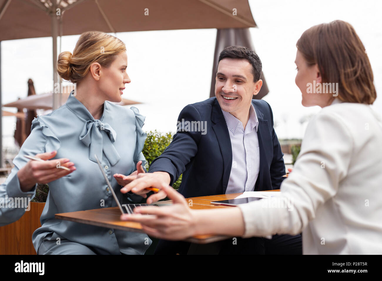 Businessman feeling happy after receiving business letter - Stock Image