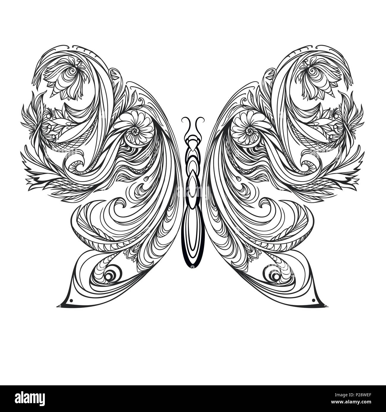 8ee25d57c403b Butterfly. Vintage decorative elements tattoo. vector illustration ...