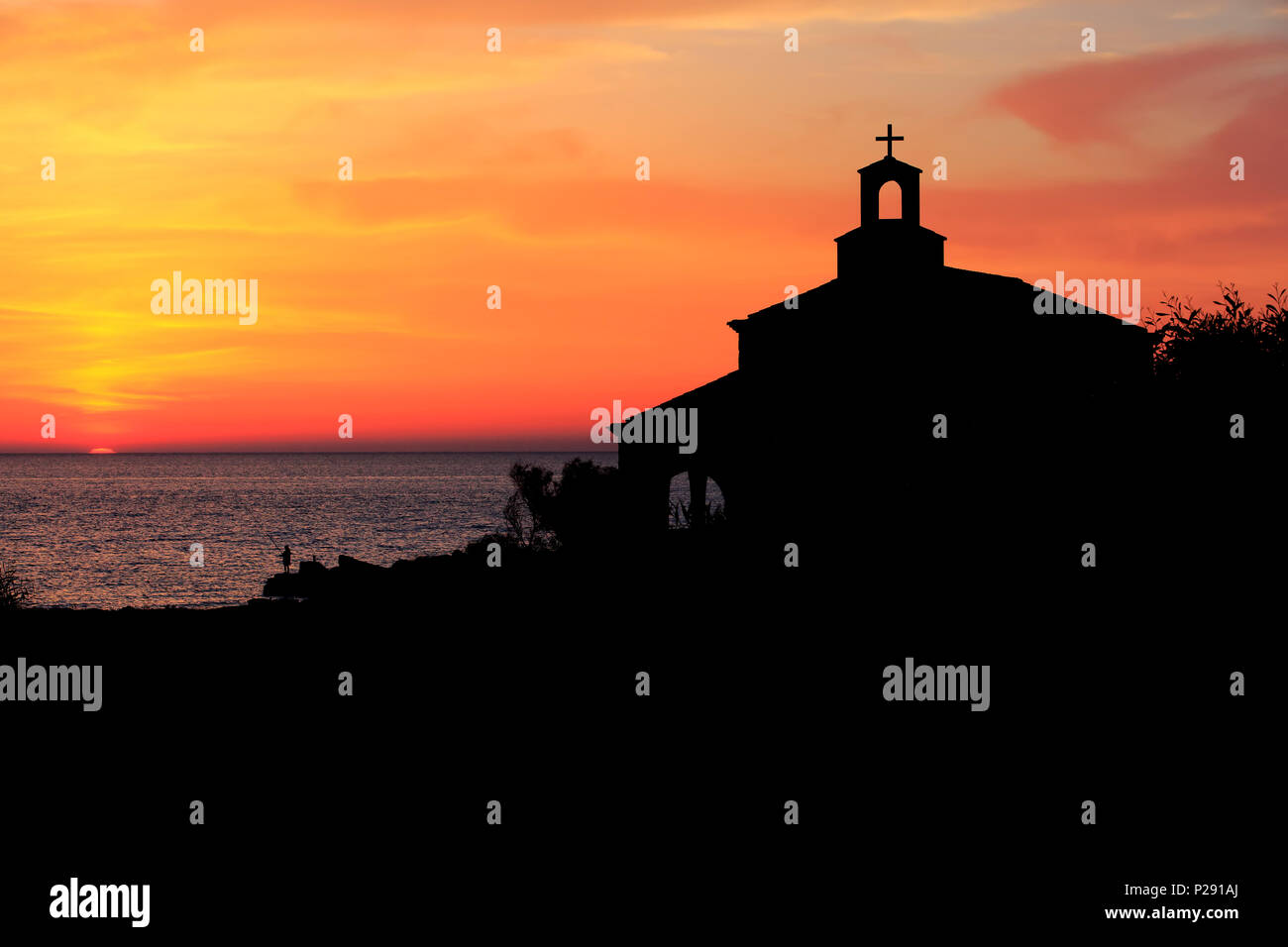 The Eastern Orthodox Chapel of Saint Andreas Paramount at sunrise in Protaras, Cyprus - Stock Image
