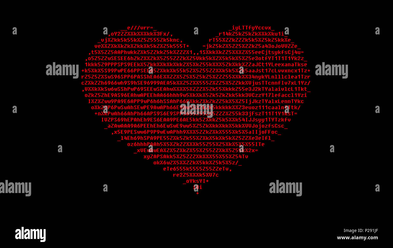 A Digital Heart Made Of Ascii Characters Red On A Black Background