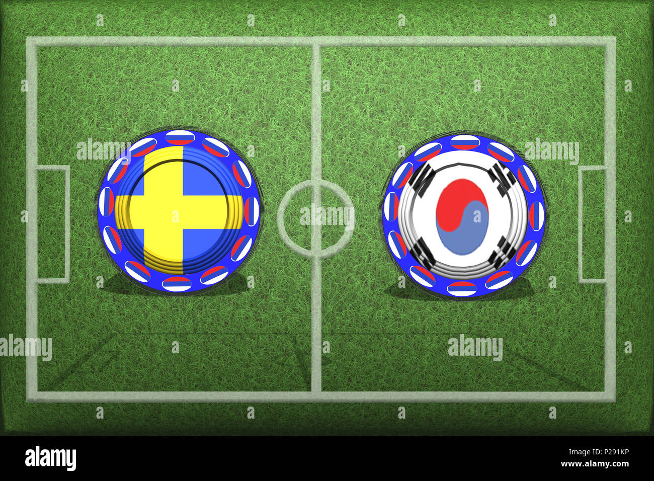 Football, World Cup 2018, Game Group F, Sweden - South Korea, Monday, June 18, Button with national flags on the green grass. - Stock Image