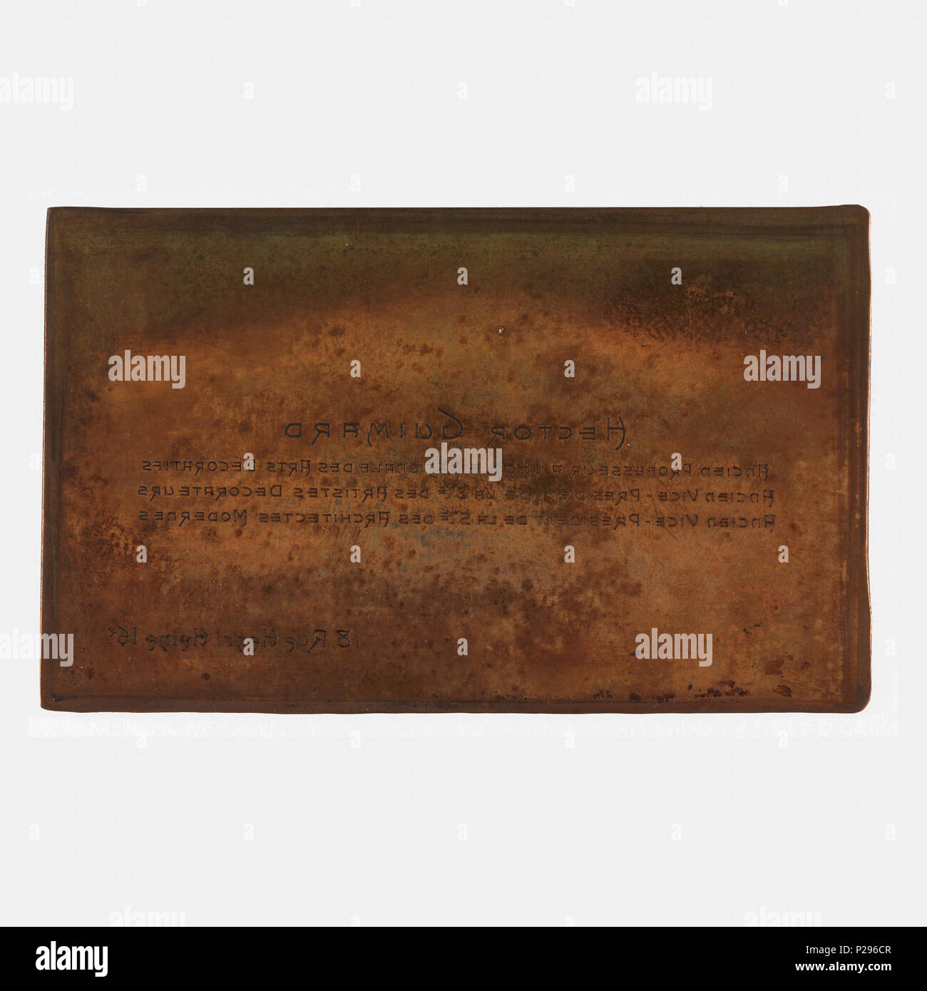 English: Guimard Printing Plate, Printing Plate for Business Cards ...