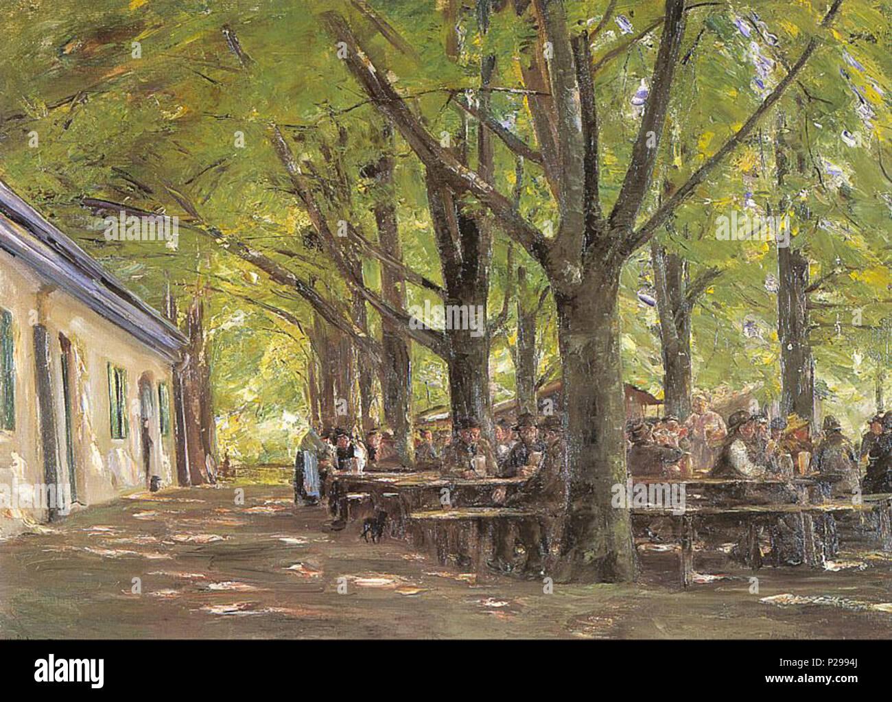 .  Deutsch: Brannenburger Biergarten English: Beer-garden in Brannenburg Français: Jardin de brasserie à Brannenbourg . 1893 176 Liebermann Country Tavern at Brunnenburg - Stock Image