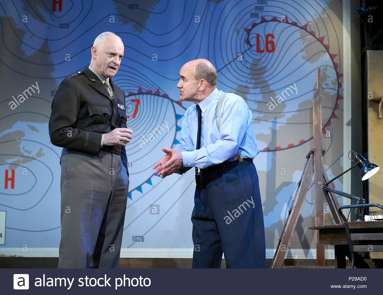 Pressure by David Haig, directed by John Dove.With Malcolm Sinclair as General Eisenhower, David Haig as Group Captain James Stagg. Opens at The Ambassadors Theatre on 14/6/18. CREDIT Geraint Lewis EDITORIAL USE ONLY - Stock Image