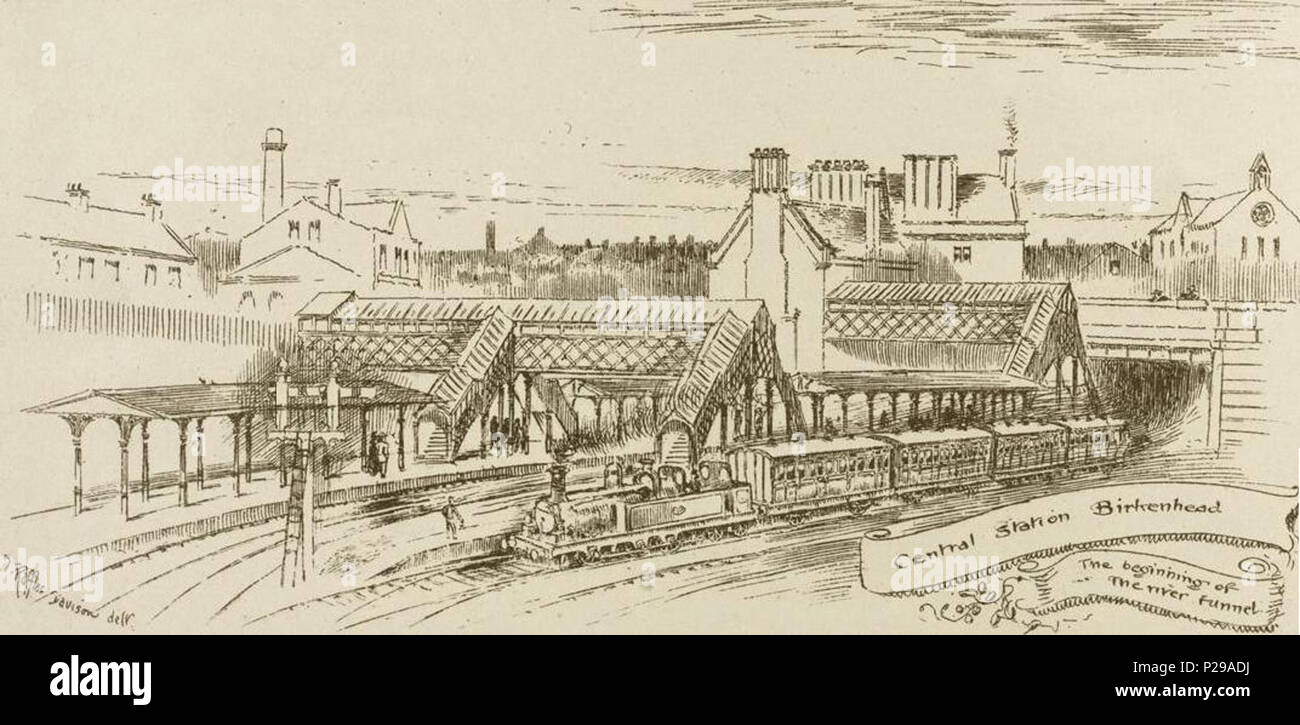 . English: An illustration of the exterior of Birkenhead Central Station at the time of the opening of the Mersey Railway Tunnel in January 1886. 20 January 1886. Thomas Raffles Davison 193 Mersey Railway Tunnel - Birkenhead Central Station - Stock Image