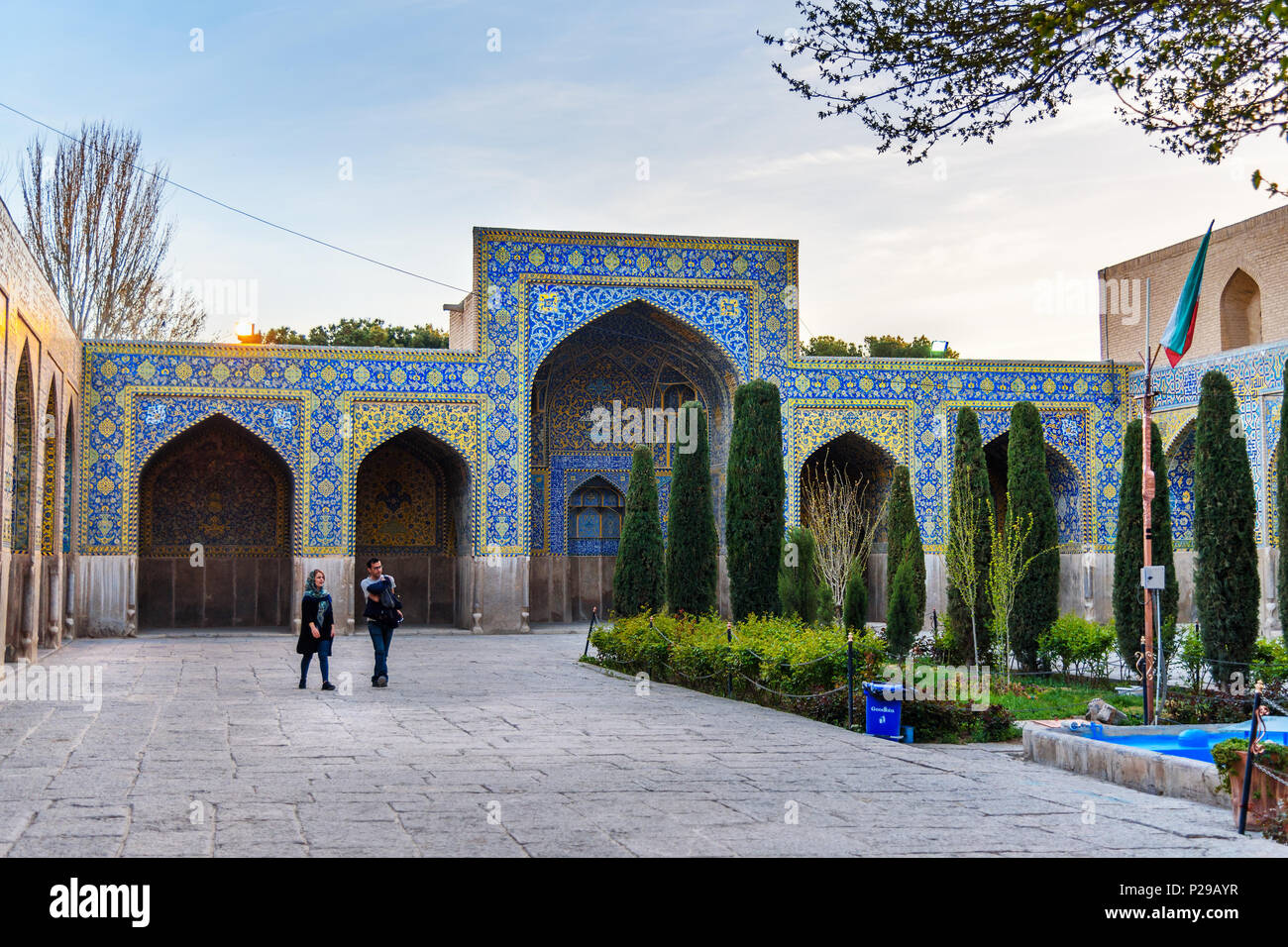 Isfahan, Iran - March 21, 2018: Garden in the territory of Shah Mosque or Imam Mosque - Stock Image