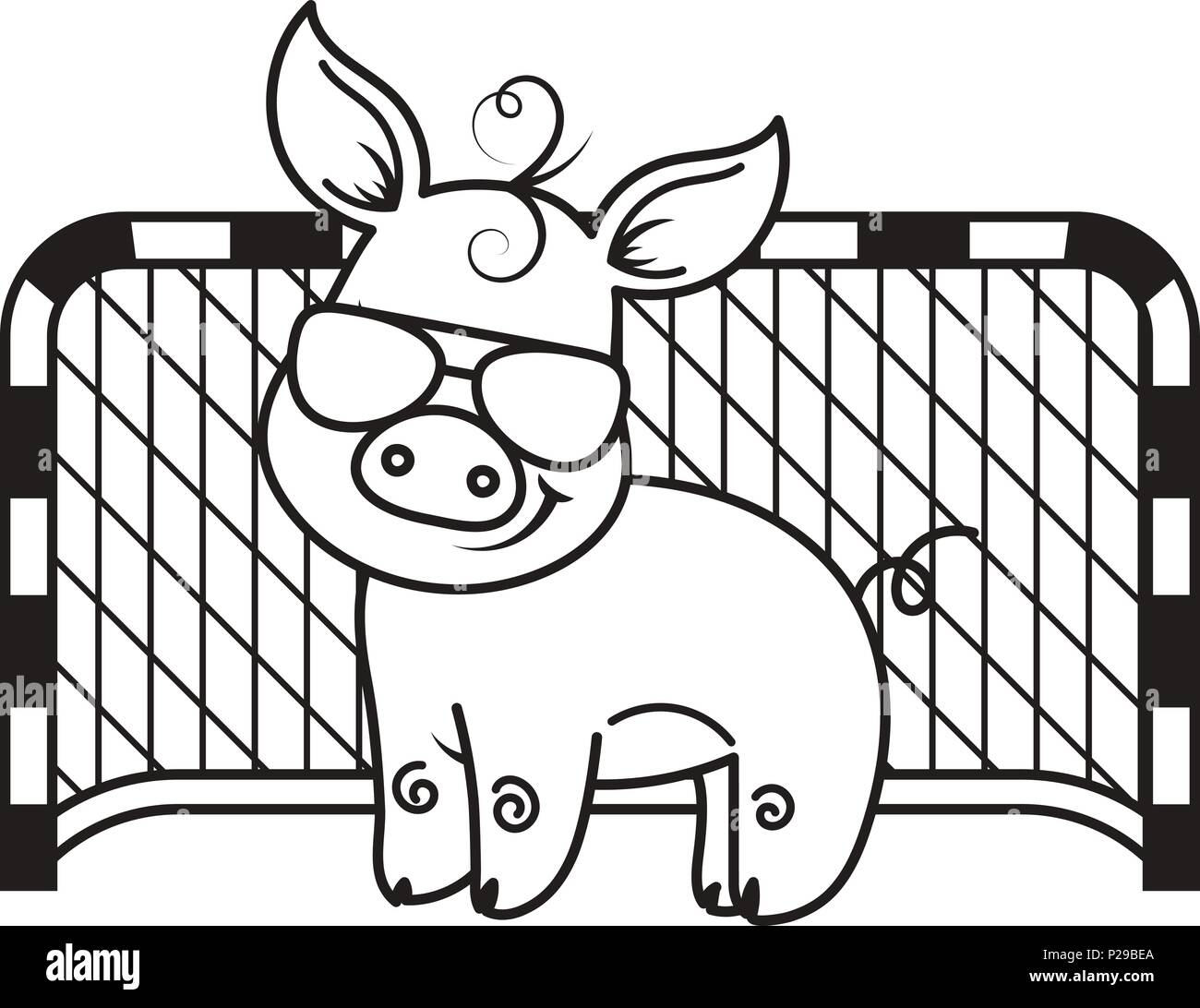 Cute cartoon pig with a soccer ball. Vector illustration. Coloring ...