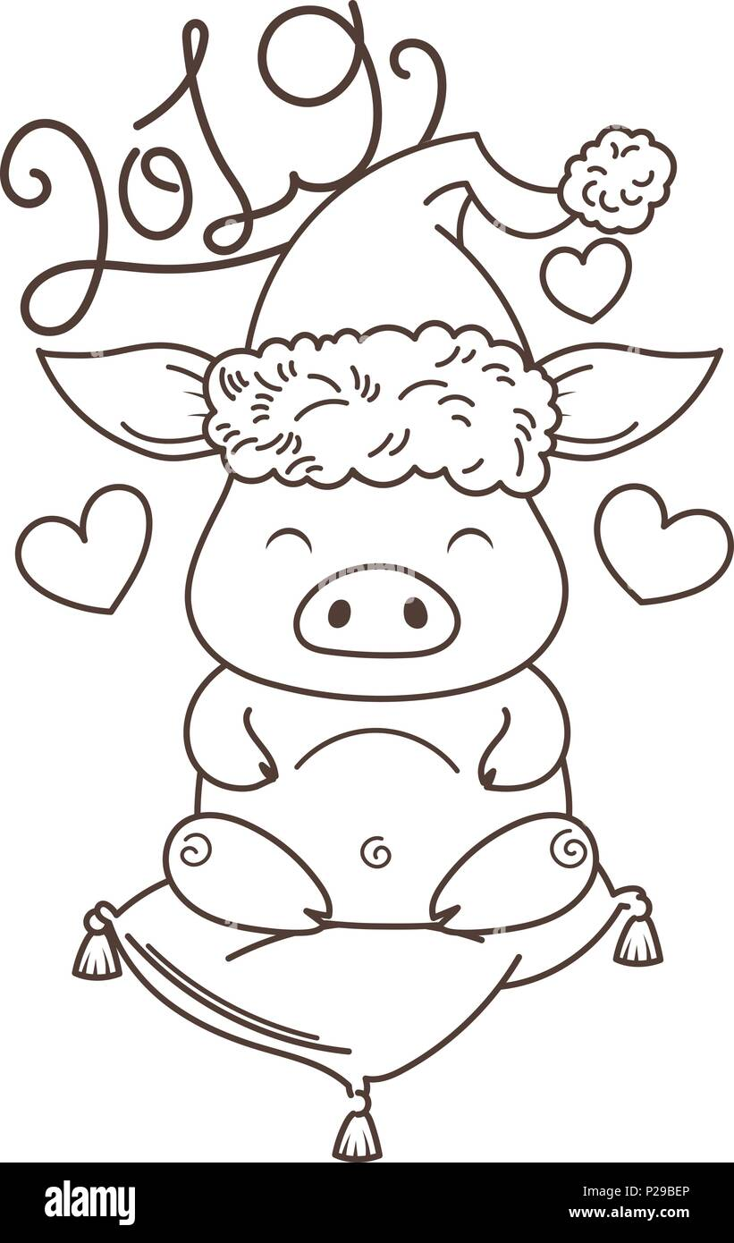 Cute Cartoon Pig In Love With Holiday Tree Symbol Of New 2019 Year