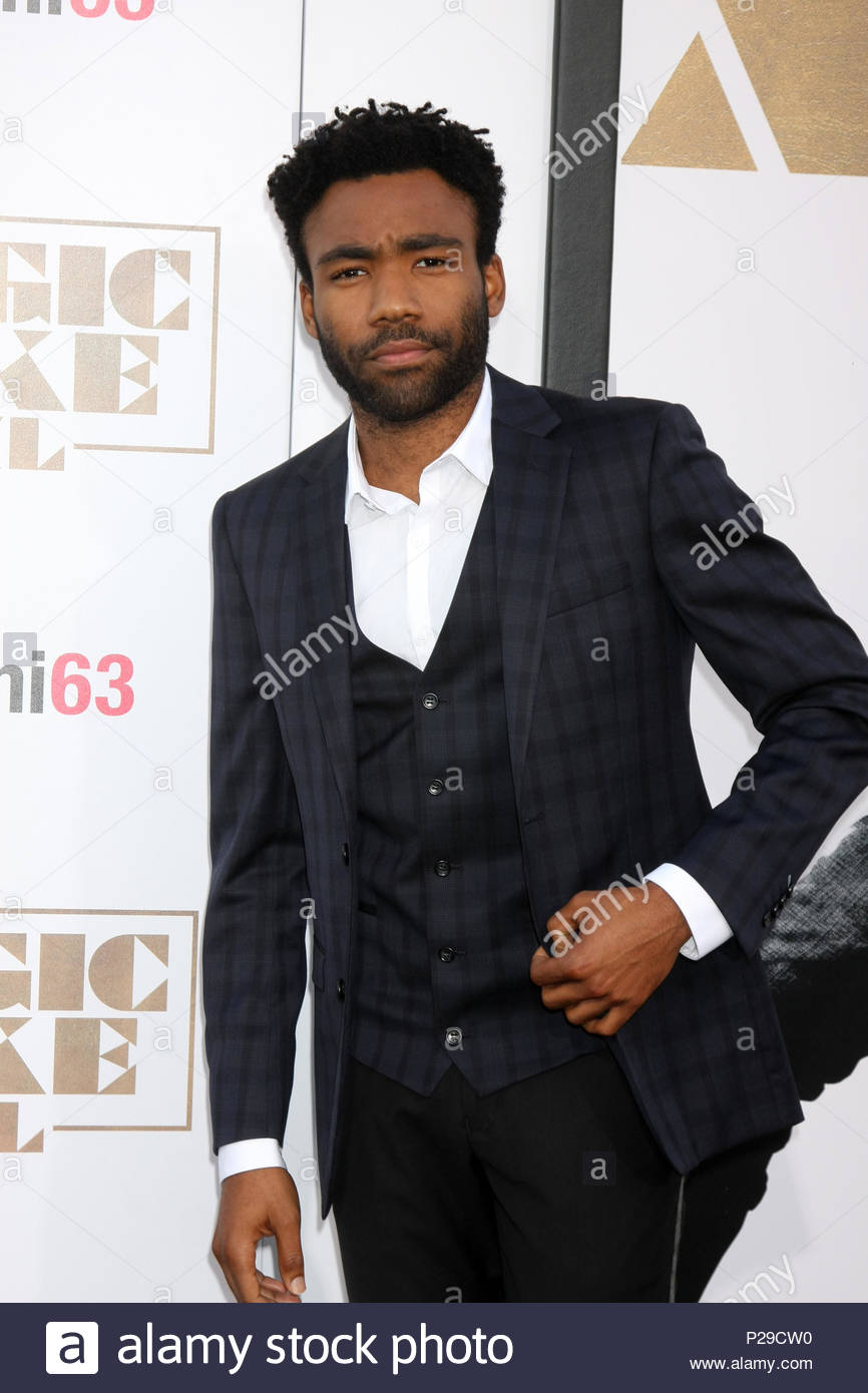 Donald Glover. ***MANDATORY BYLINE TO READ INFPhoto.com ONLY***<BR/> Vanessa Marcil, Crystal Hunt attending the 'Magic Mike XXL' Premiere at the TCL Chinese Theater in Los Angeles, California. - Stock Image