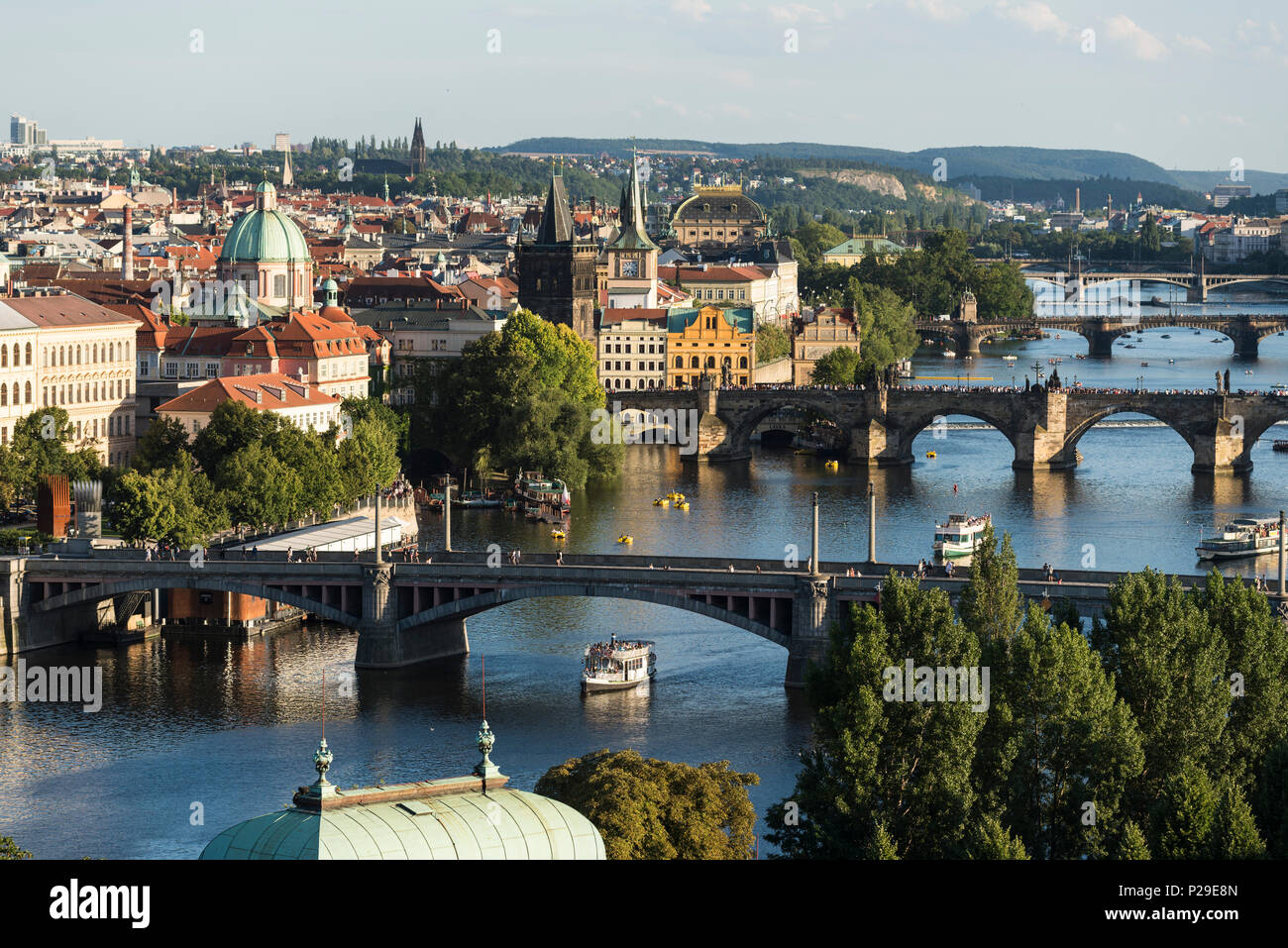 Prague. Czech Republic. View from Letná Park of the Vltava River and the Old Town (Staré Město). - Stock Image