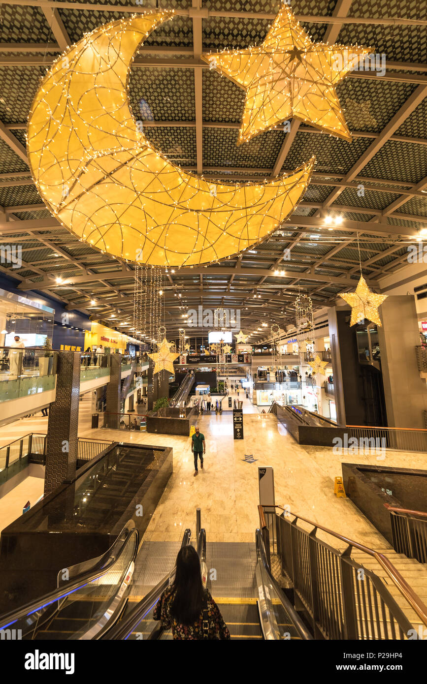 Dubai, United Arab Emirates – June 11, 2018, Dubai Festival City Mall located at Festival City district, during the Ramadan there is lot of decoration Stock Photo