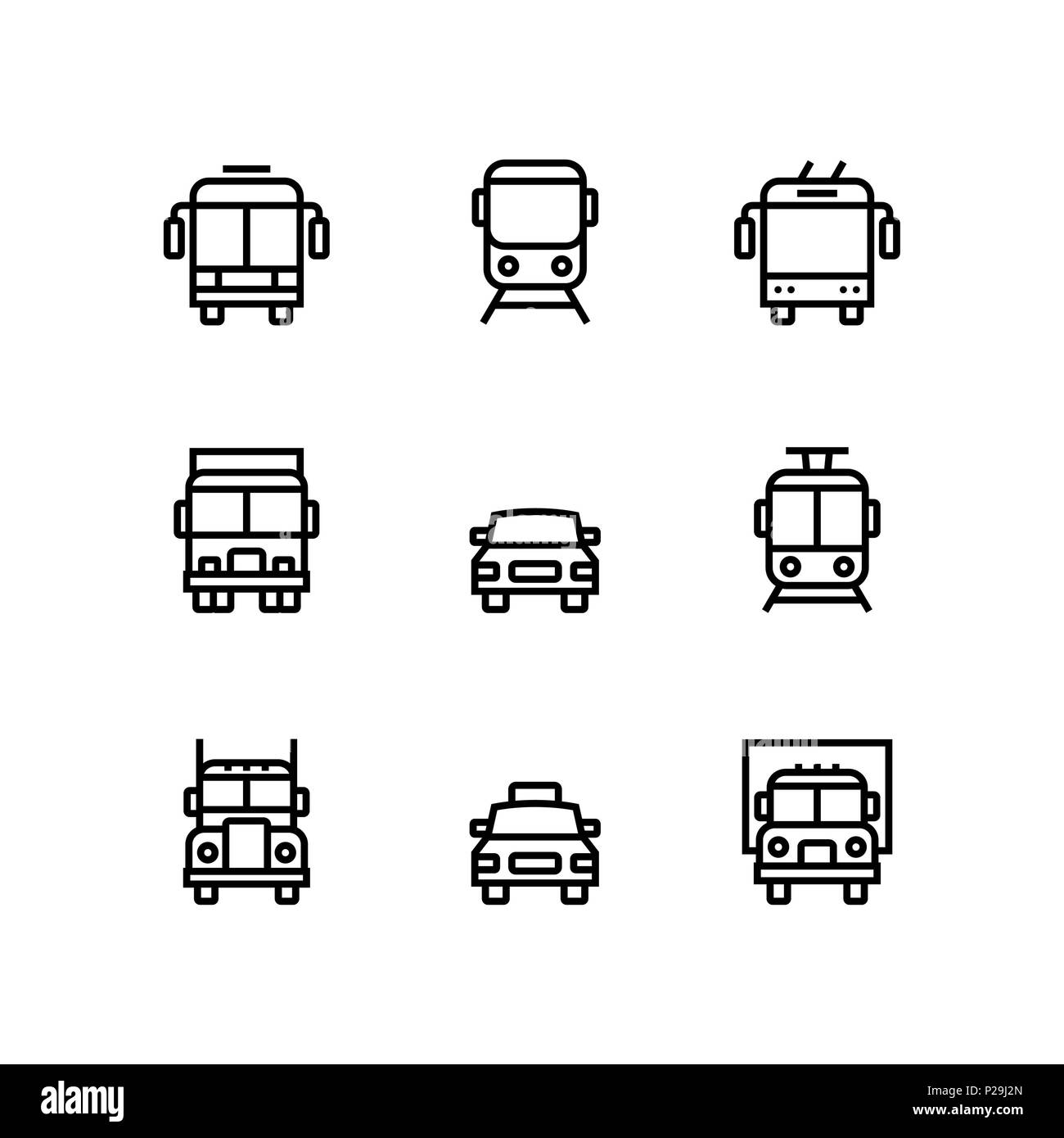 Transport, vehicle, truck and car simple vector icons for web and mobile design pack 1 - Stock Image