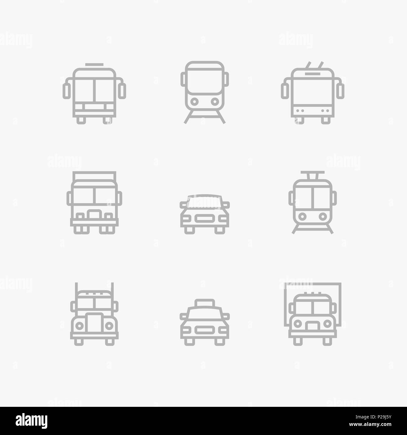 Grey Transport, vehicle, truck and car simple vector icons for web and mobile design pack 1 - Stock Image