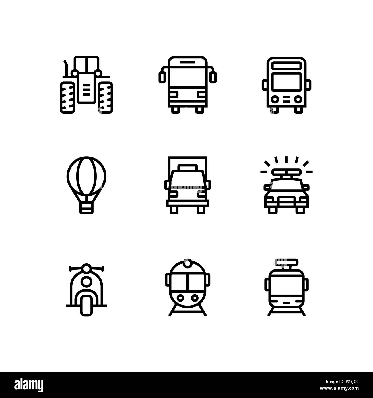 Transport, vehicle, truck and car simple vector icons for web and mobile design pack 2 - Stock Image