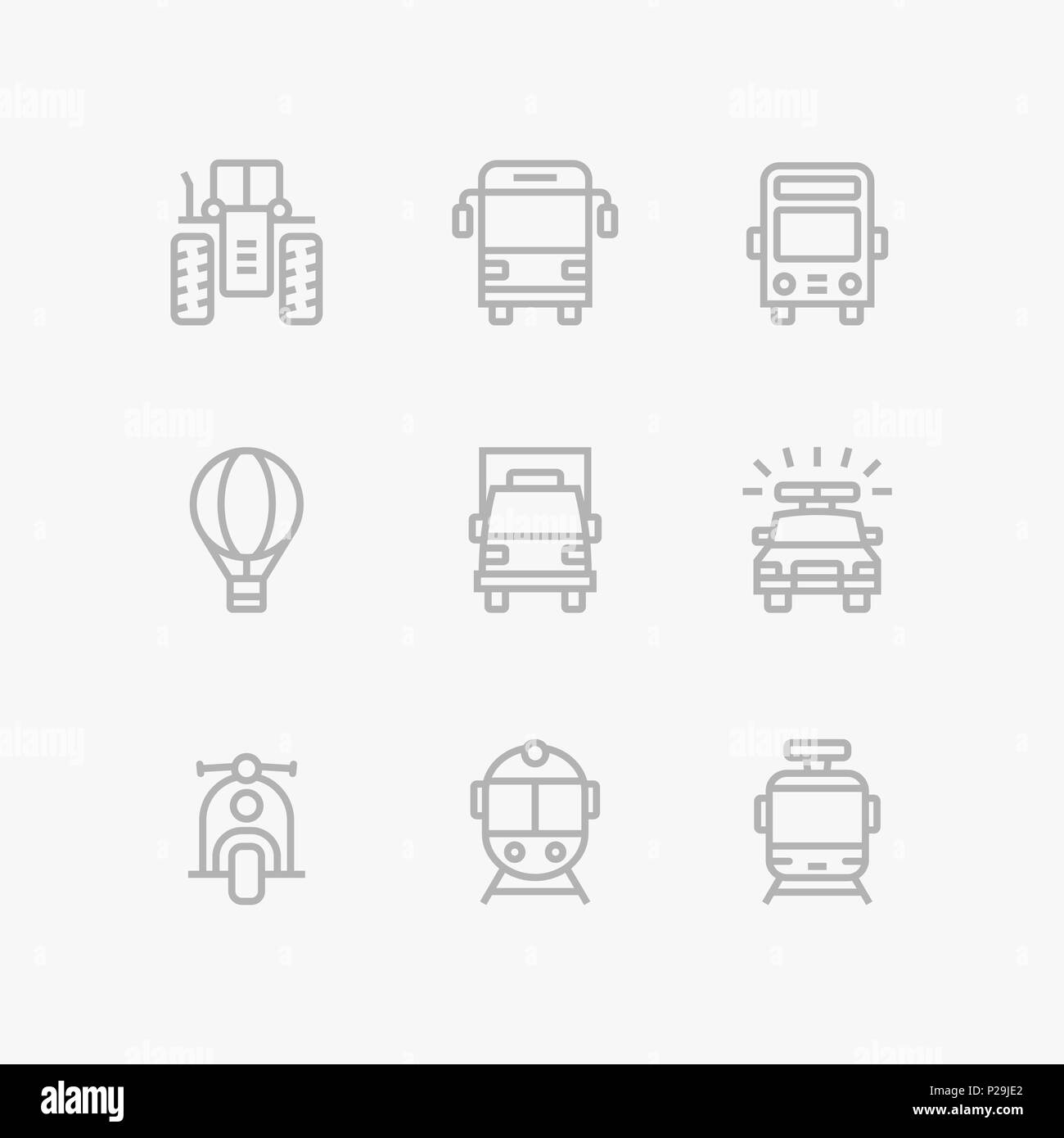Grey Transport, vehicle, truck and car simple vector icons for web and mobile design pack 2 - Stock Image