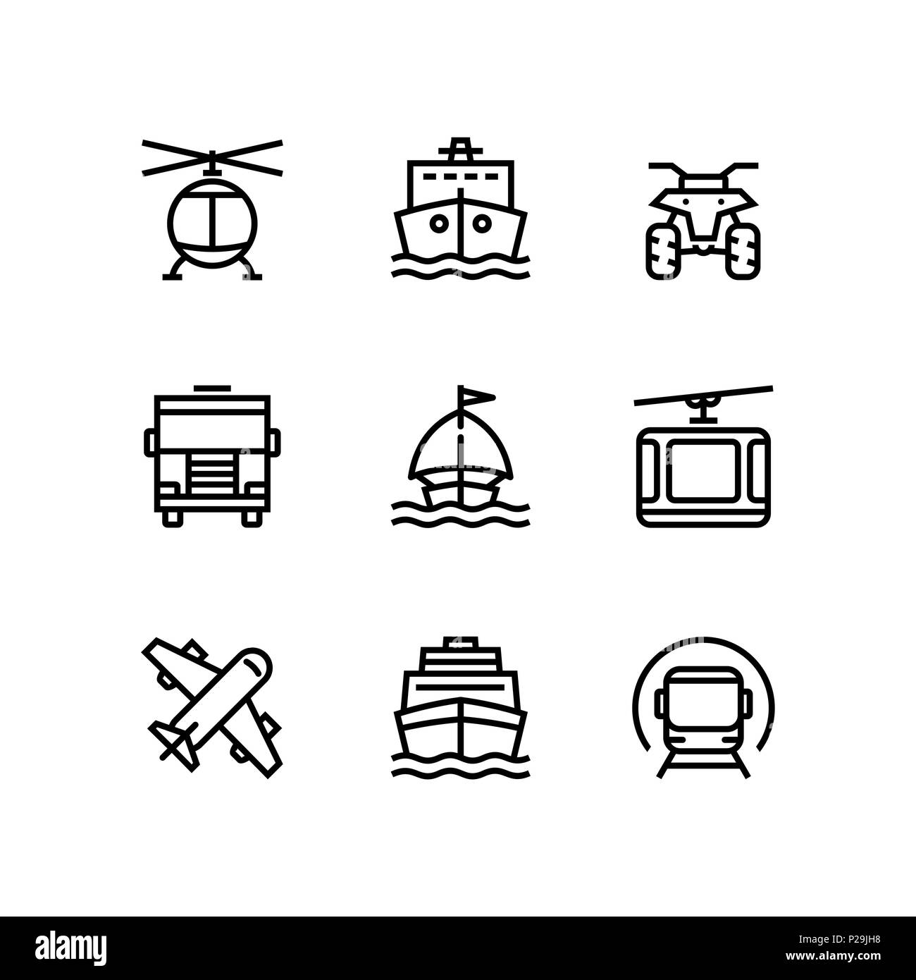 Transport, vehicle, truck and car simple vector icons for web and mobile design pack 3 - Stock Image