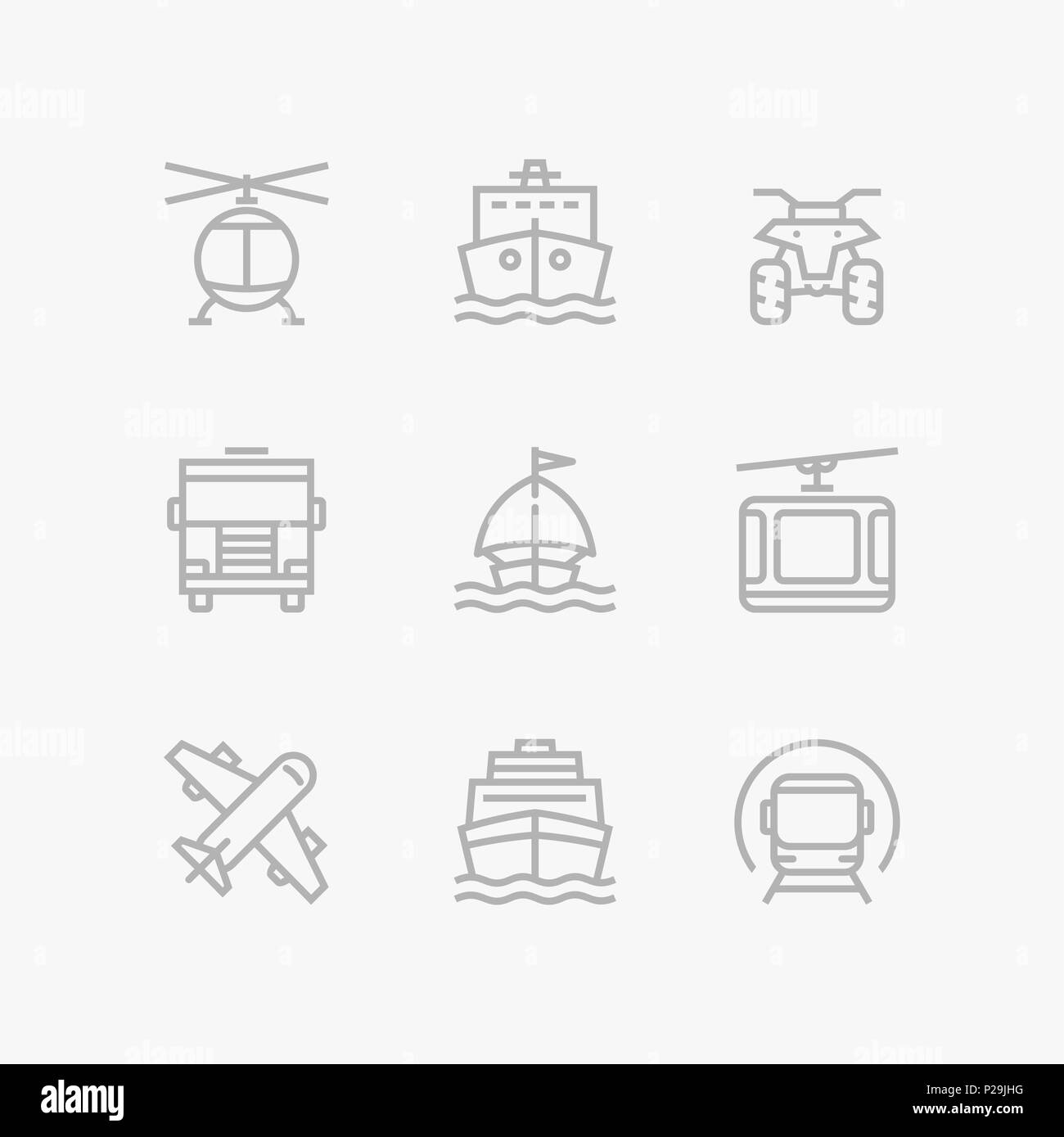 Grey Transport, vehicle, truck and car simple vector icons for web and mobile design pack 3 - Stock Image