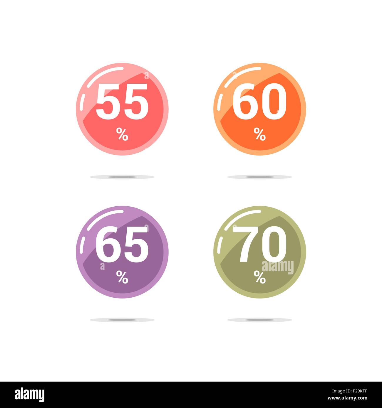 Sale discount circle icons. Special offer price signs. 55, 60, 65 and 70 percent off reduction symbols. Colored vector flat elements badges - Stock Image