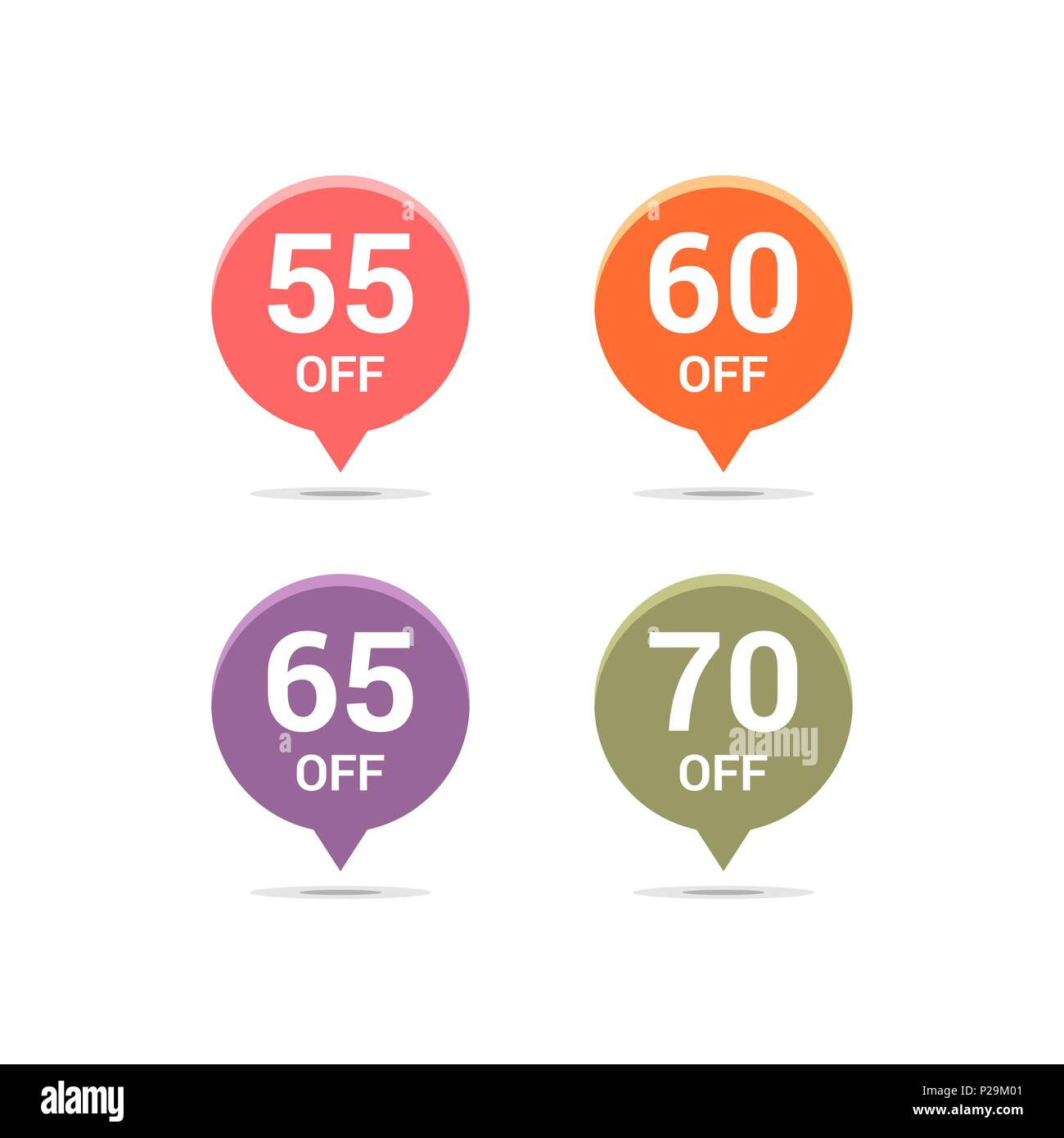 Sale discount icons. Special offer price signs. 55, 60, 65 and 70 percent off reduction symbols. Colored vector flat elements badges - Stock Image