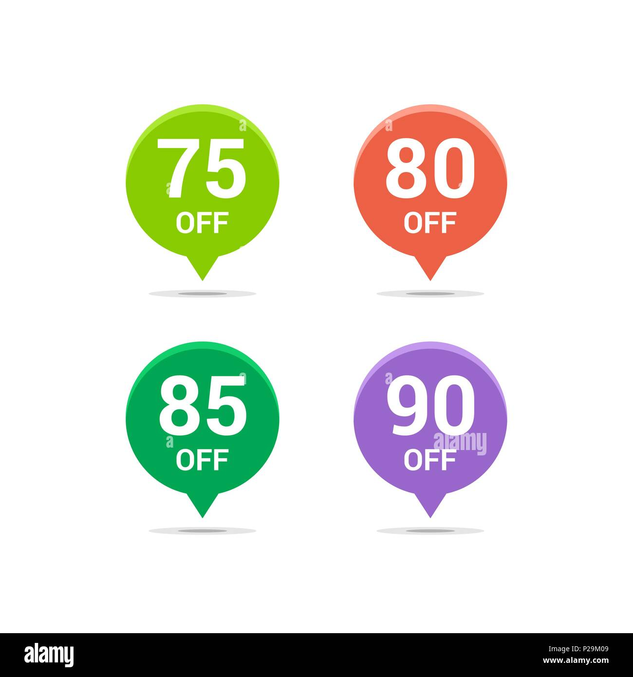 Sale discount icons. Special offer price signs. 75, 80, 85 and 90 ...