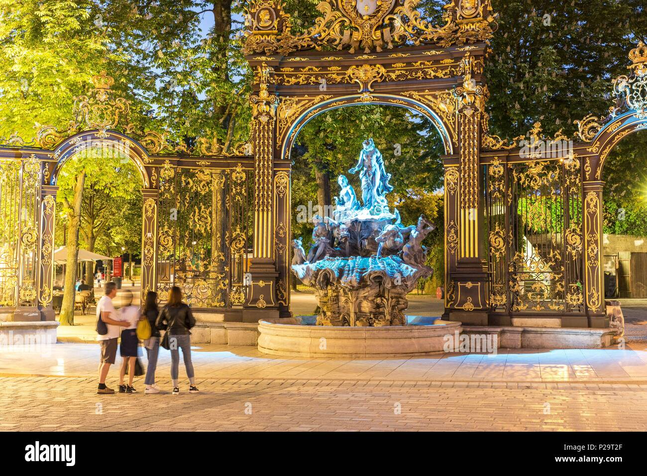 France, Meurthe et Moselle, Nancy, Place Stanislas or former Royal Place listed as World Heritage by UNESCO built by Stanislas Leszczynski king of Poland and last Duke of Lorraine in the 18th century, the fountain of Amphitrite - Stock Image