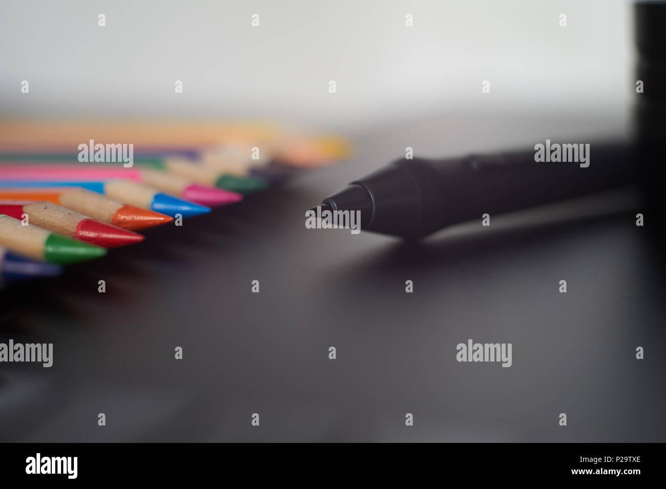 digital stylus pen on digital graphic tablet for illustrators and