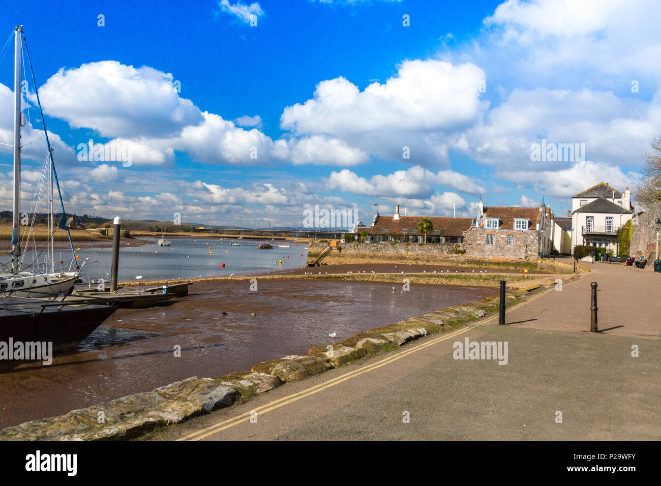The waterfront of the River Exe at low tide at Topsham, Devon, England, UK - Stock Image