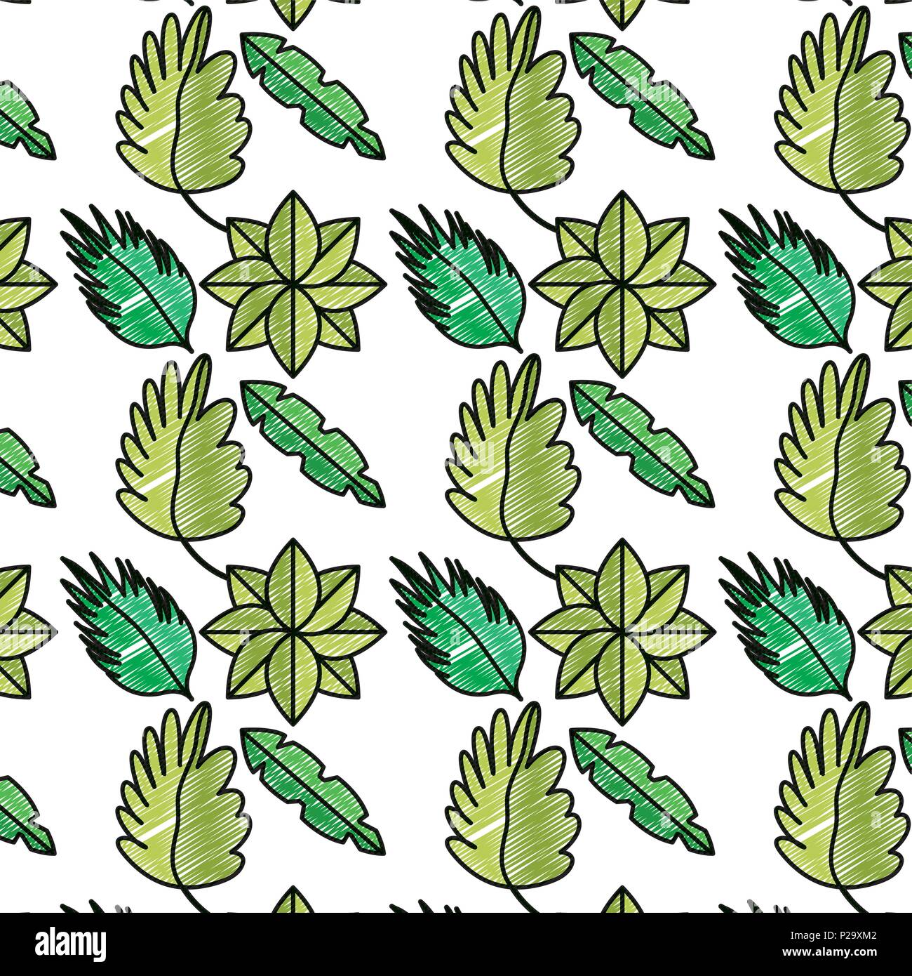 Doodle Natural Plants Tropical Leaves Background Stock Vector Image Art Alamy Works as a background where you can add images or text. alamy