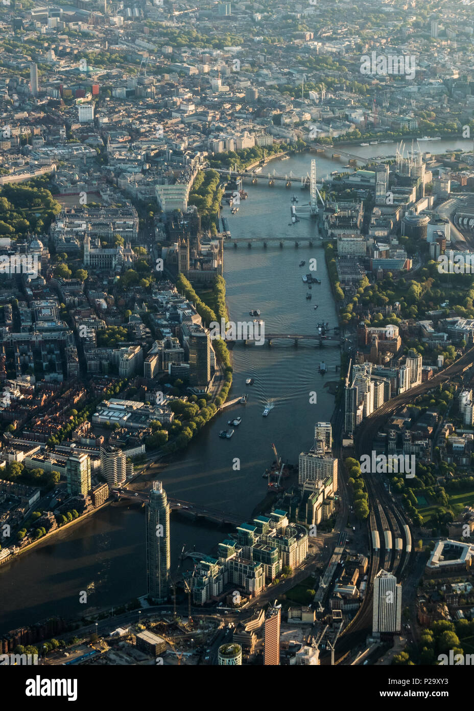 Early morning aerial view of the River Thames through central London from the west. Stock Photo