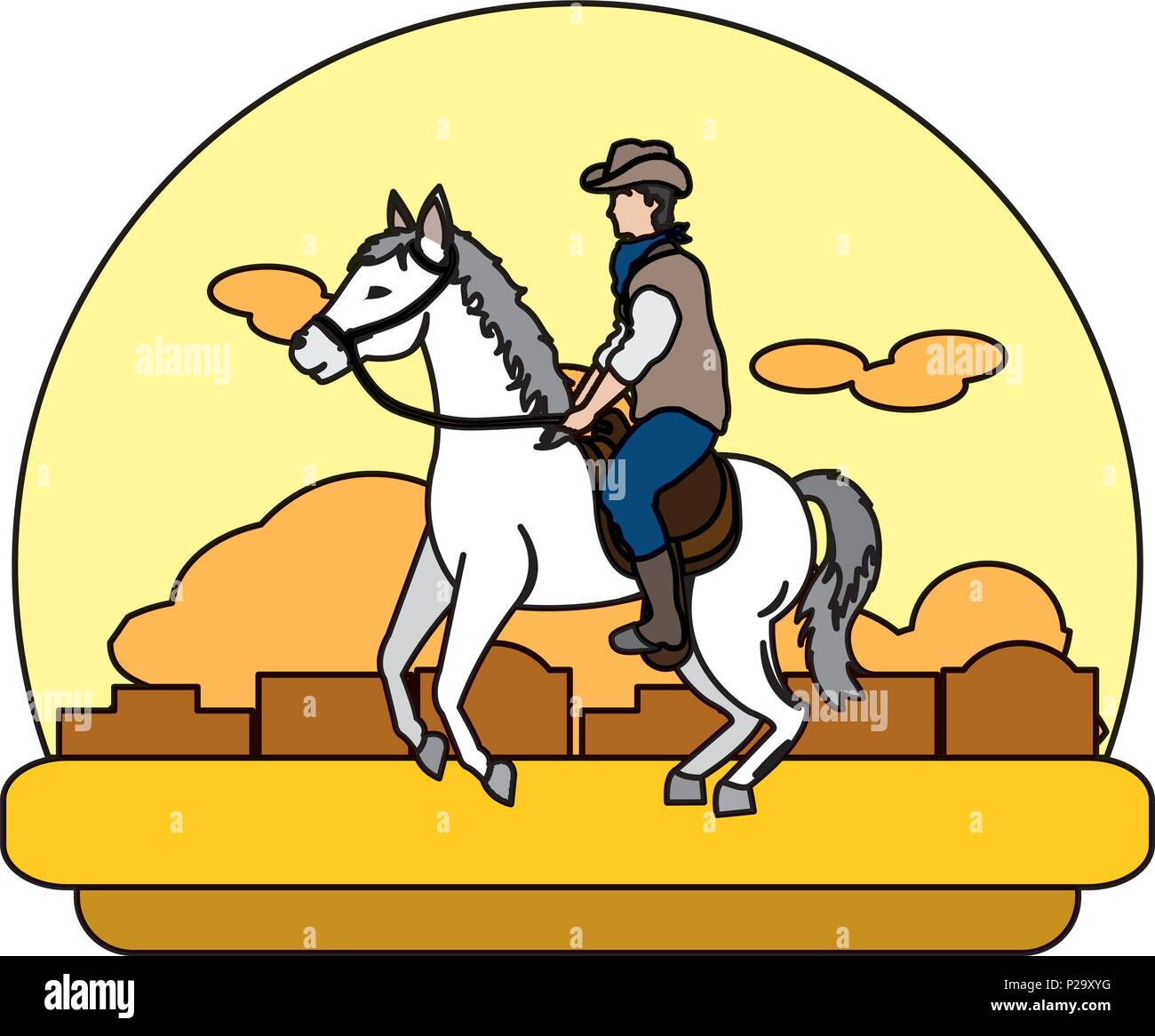 Color Man Riding Horse In The Desert Landscape Stock Vector Image Art Alamy