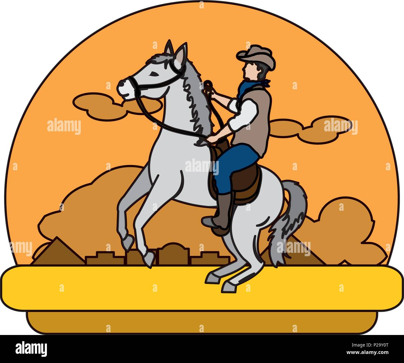 Color Cowboy Riding Horse In The Desert Landscape