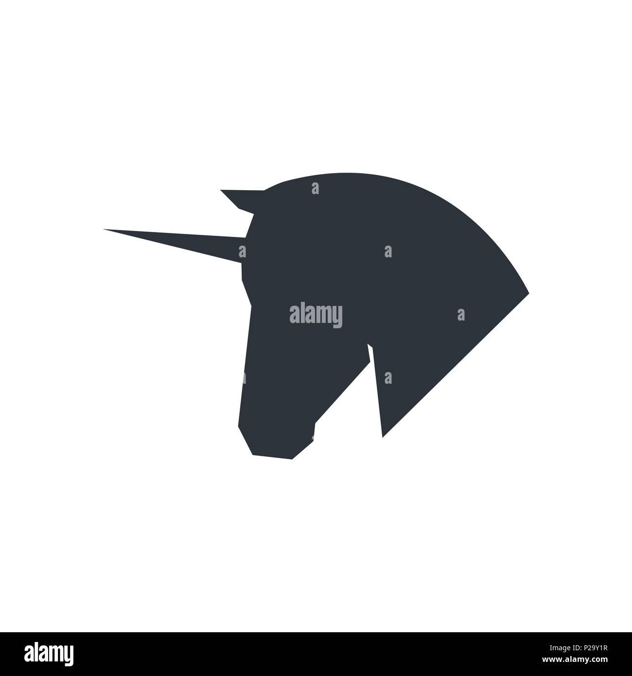 unicorn head logo symbol template on white background stock vector