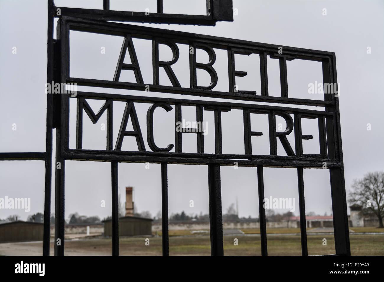 Arbeit Macht Frei on the gate of Sachsenhausen, Germany - Stock Image