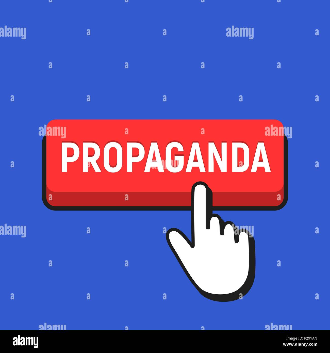 Hand Mouse Cursor Clicks the Propaganda Button. Pointer Push Press Button Concept. Stock Vector