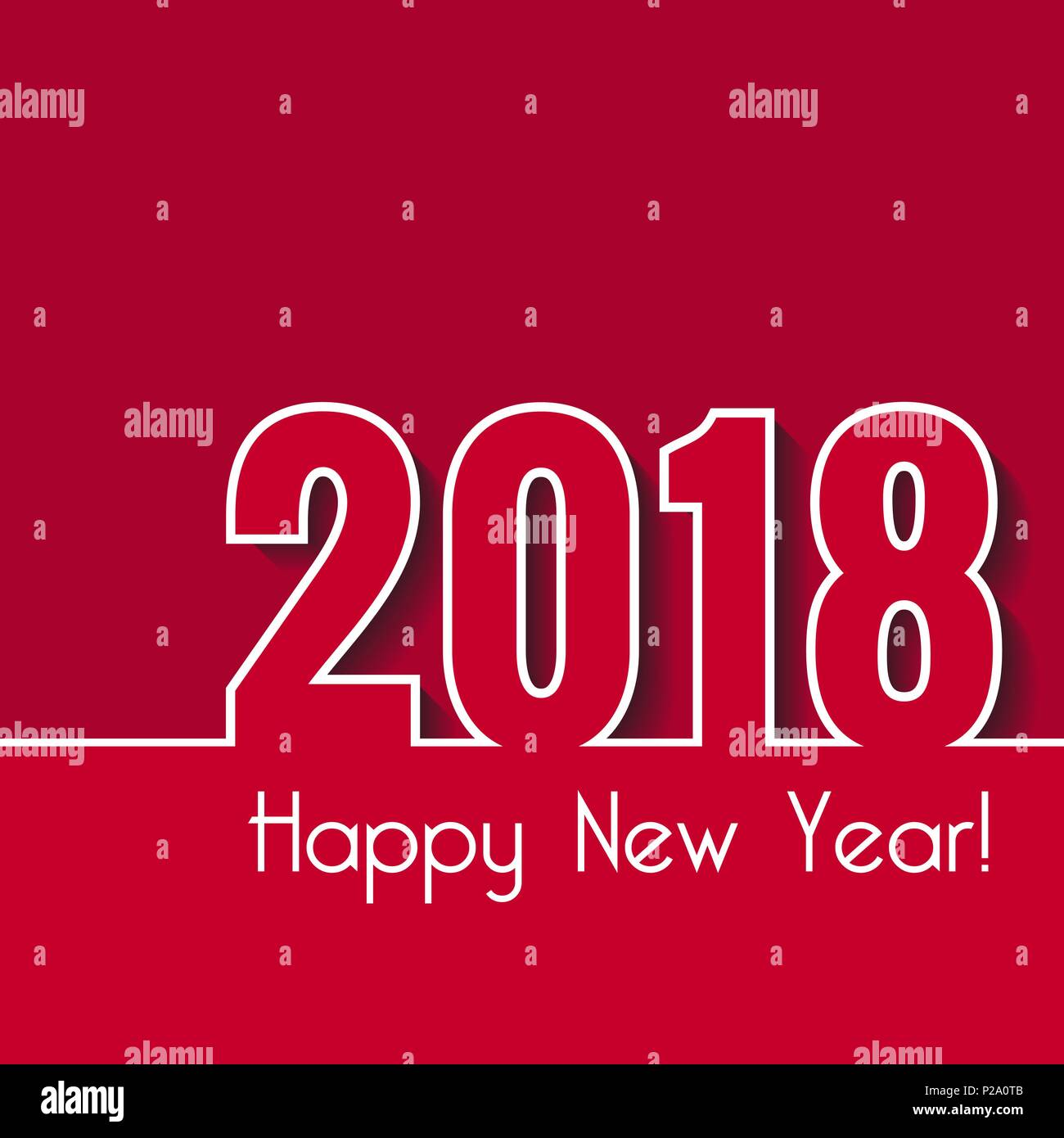 happy new year 2018 creative greeting card template over red background