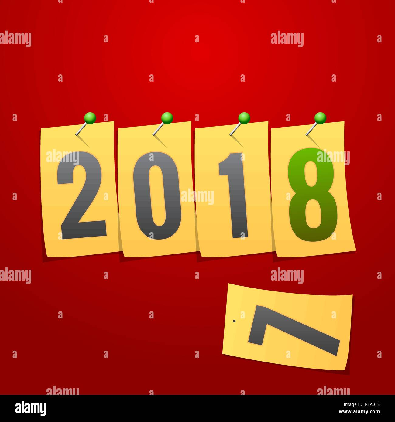 happy new year 2018 creative greeting card template yellow note paper concept over red background