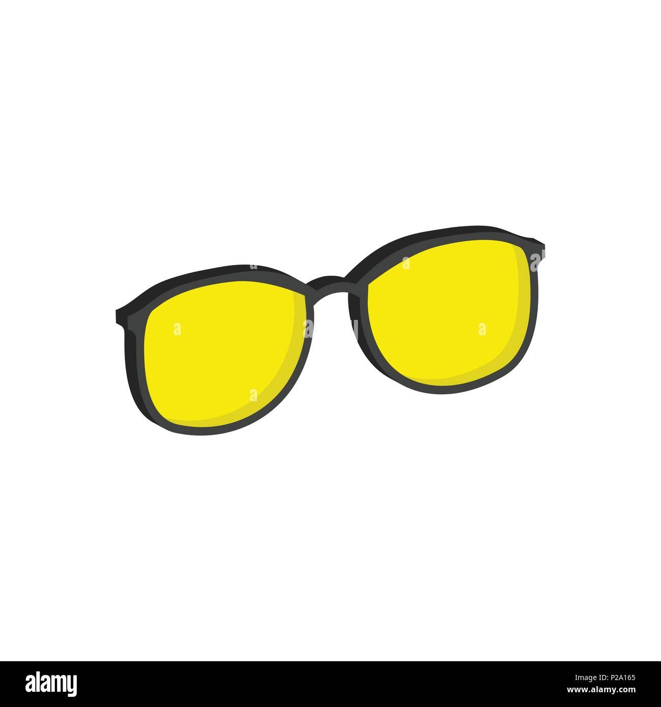 Yellow Glasses Eyeglasses Symbol Flat Isometric Icon Or Logo 3d