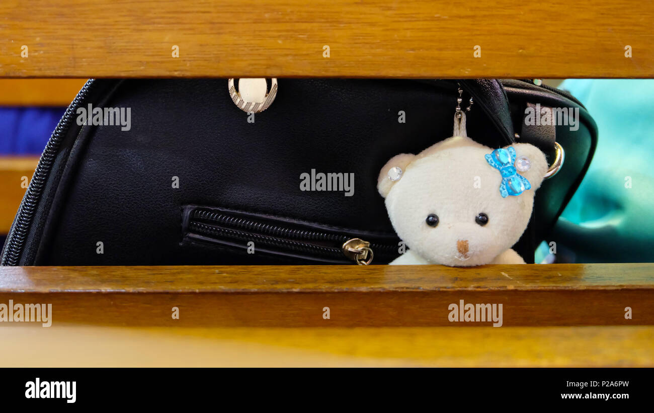 A light cream bear plushy with blue ribbon hanging from a black bag peering through the back rest of a wooden bench - Stock Image