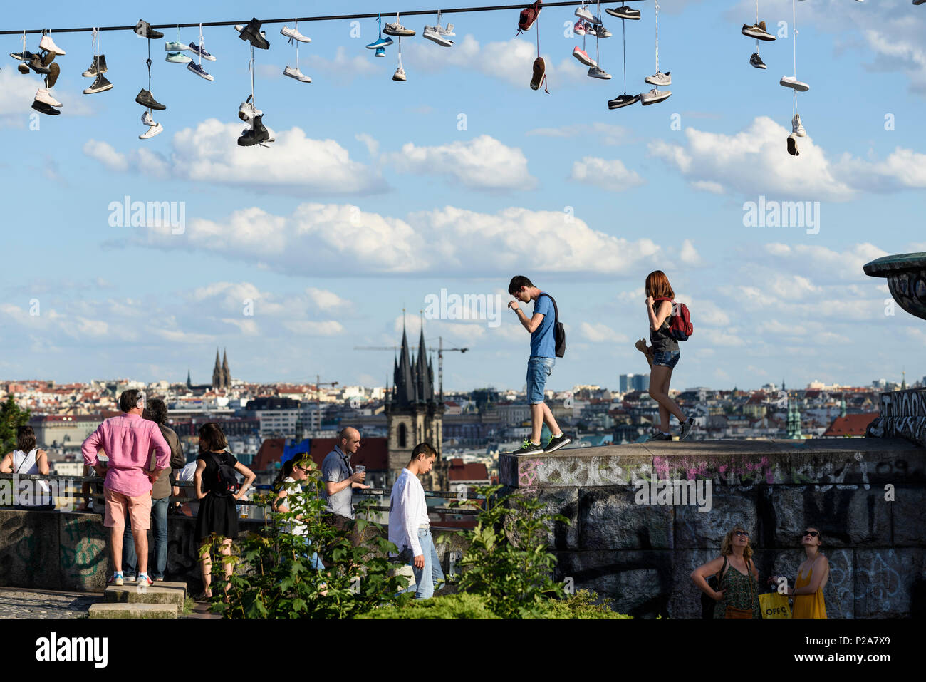 Prague. Czech Republic. People at Letná Park, which provides a viewpoint for views across the city. - Stock Image