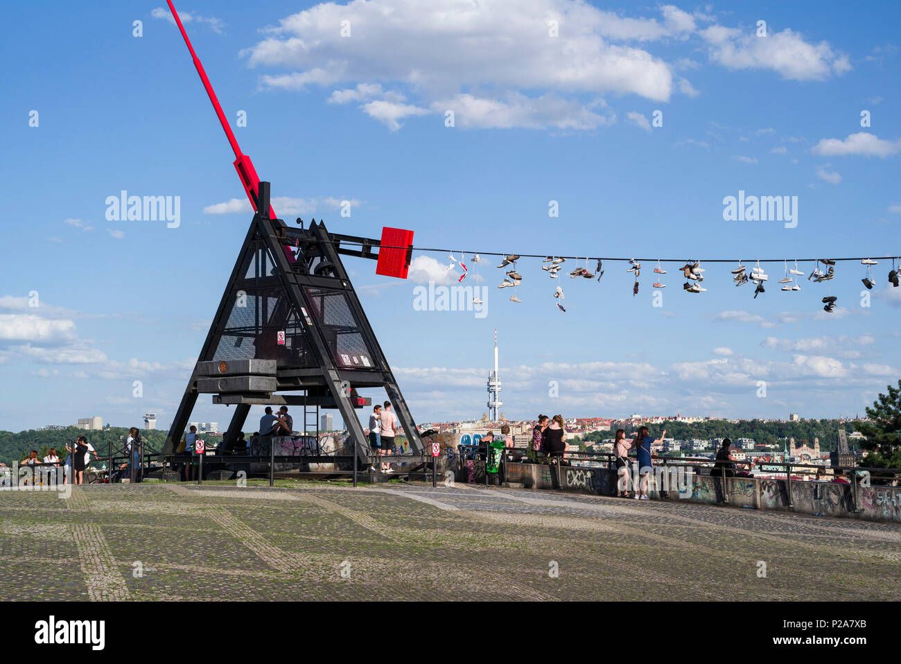 Prague. Czech Republic. People gather at the Metronome in Letná Park for views across the city. - Stock Image