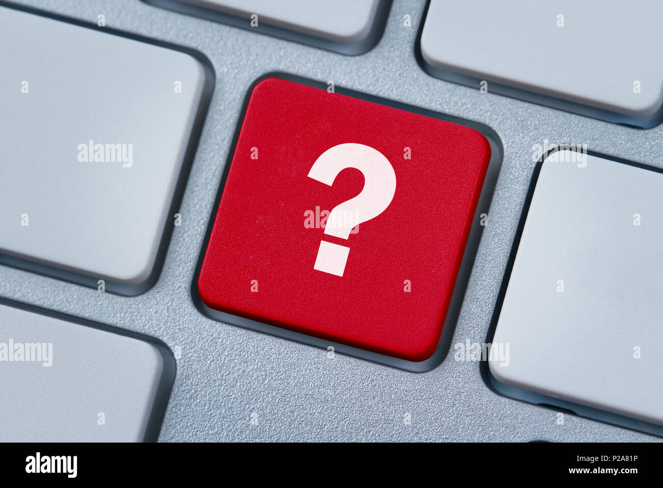 Question mark key, button on the computer keyboard - Stock Image