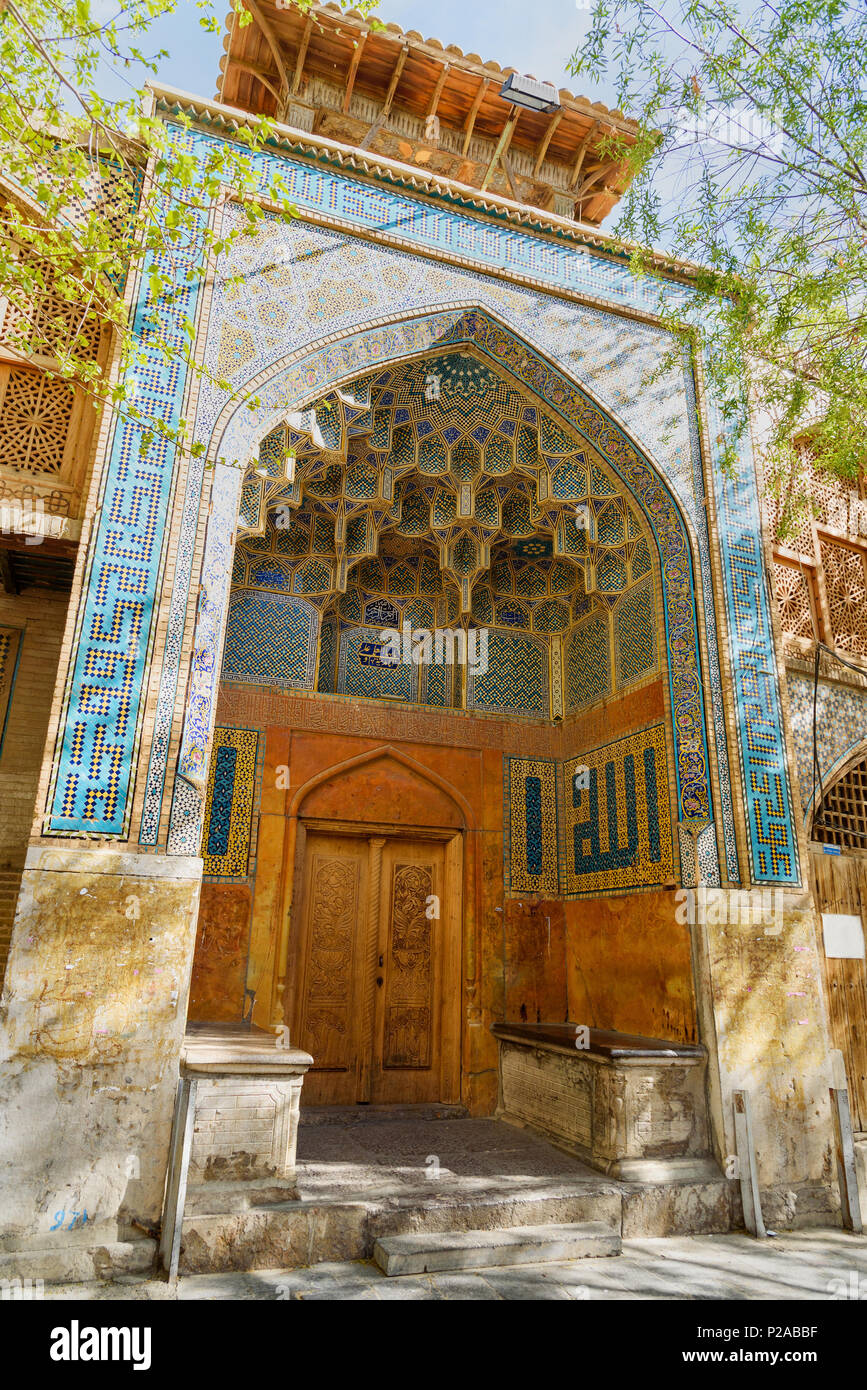 Entrance to Ali Gholi Agha Mosque in Isfahan. Iran - Stock Image