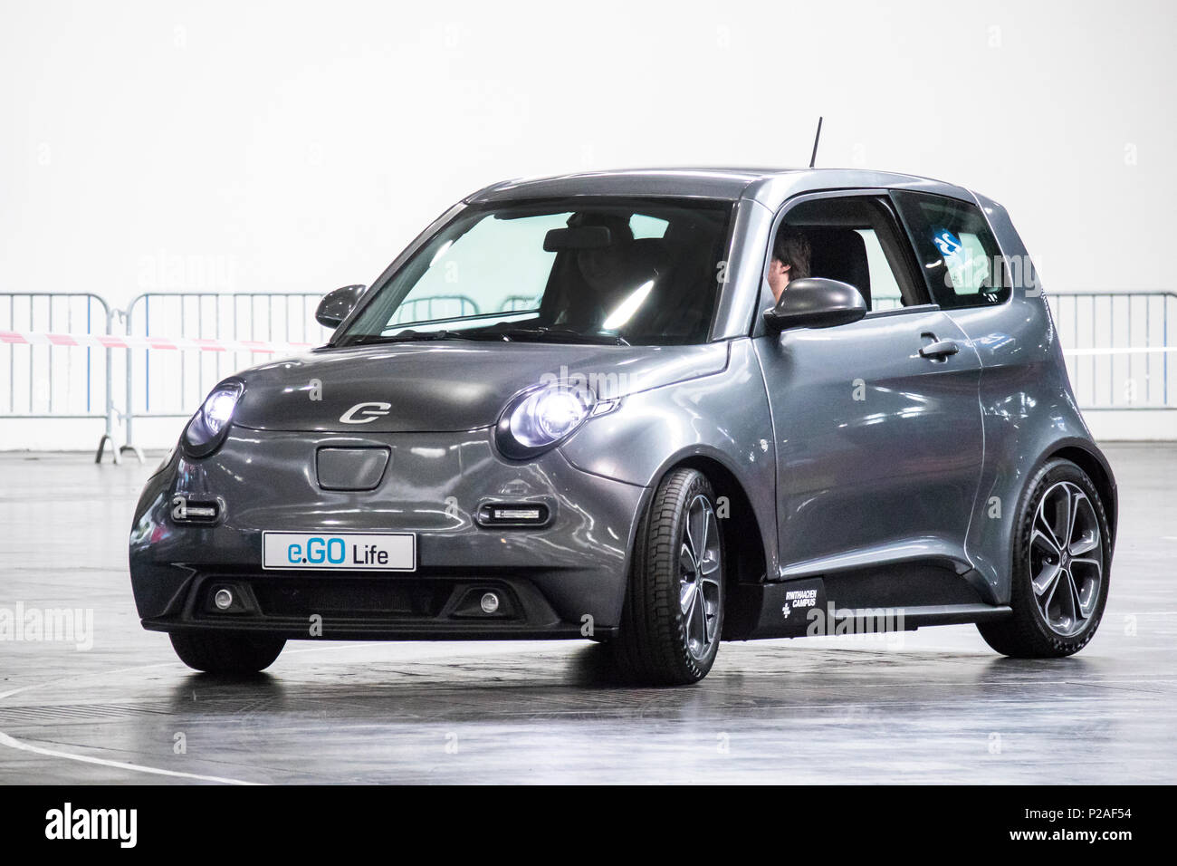 Hanover, Germany. 13th June, 2018. e.GO Life, electric car by e.GO Mobile AG, Germany. At CEBIT 2018, international computer expo and Europe's Business Festival for Innovation and Digitization: Credit: Christian Lademann / Alamy Live News Stock Photo